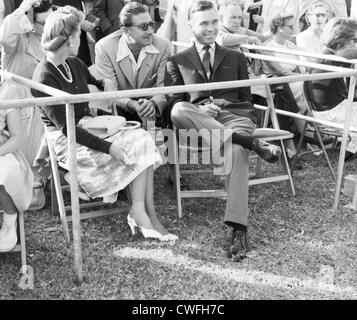 Mrs Porfirio Rubirosa ( Barbara Hutton ), Alexis Obolensky and Porfirio Rubirosa at polo match in Palm Beach, Florida, - Stock Image