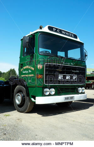 British lorry manufacturing - a 1979 built ERF tractor unit (B series). - Stock Image