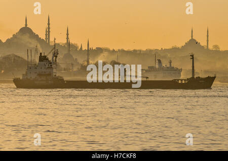 A cargo ship sails past the skyline of the historic quarter of Sultanahmet and Fatih in Istanbul, at sunset.  The - Stock Image