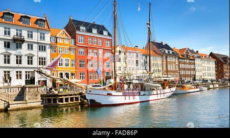 The boat moored in Nyhavn Canal, Copenhagen, Denmark - Stock Image