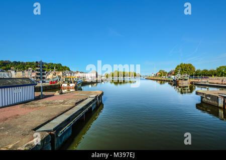 Fishing boat in the Old Harbor of Honfleur France on the Normandy Coast of France and the English Channel - Stock Image