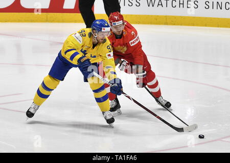 Bratislava, Slovakia. 21st May, 2019. L-R Gabriel Landeskog (SWE) and Ivan Telegin (RUS) in action during the match between Sweden and Russia within the 2019 IIHF World Championship in Bratislava, Slovakia, on May 21, 2019. Credit: Vit Simanek/CTK Photo/Alamy Live News - Stock Image