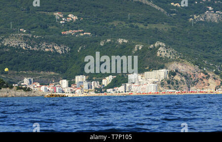 A view of the Adriatic coast near Budva, Montenegro. - Stock Image