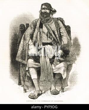 Maharaj Rana of Dholpur, India. Maharana Bhagwant Singh, circa 1870 - Stock Image