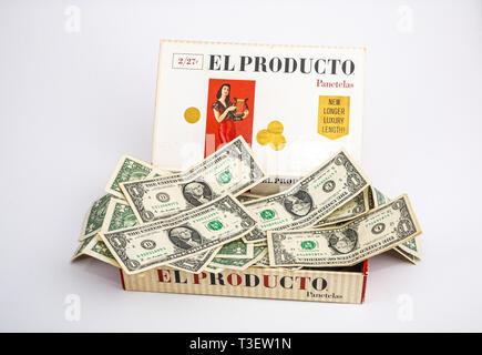 Cigar Box Full of Money - Stock Image