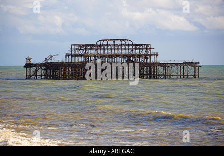 The Old Pier at Brighton Destroyed by Fire - Stock Image