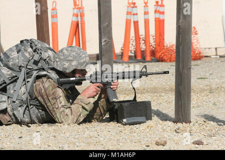 Sgt. James Peterson of the California Army National Guard fires at a target during the Stress Shoot/Fight for your - Stock Image