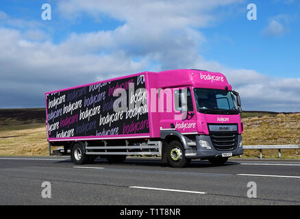Bodycare HGV. M6 Motorway, Southbound, Shap, Cumbria, England, United Kingdom, Europe. - Stock Image