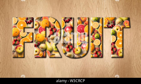 Fruit word covered with various fruits on a kitchen cutting board - Stock Image