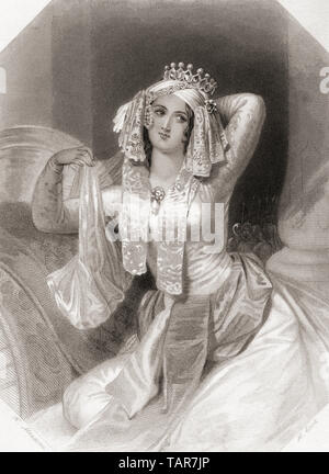 Cleopatra.  Principal female character from Shakespeare's play Antony and Cleopatra.  From Shakespeare Gallery, published c.1840. - Stock Image