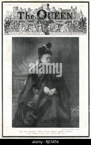 Front cover reporting on the death of Her Majesty Queen Victoria in 'The Queen, The Lady's Newspaper & Court Chronicle', dated 26 January 1901, four days after her death. Photograph taken when Victoria was visiting Ireland in April 1900. - Stock Image