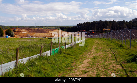 Woburn Forest Centre Parcs construction of the new holiday retreat village park parks parc center abbey manor safari - Stock Image