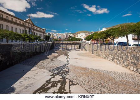 Looking up the Barranco de Santos with Museo de la Naturaleza y el Hombre on the left, Santa Cruz de Tenerife, Tenerife, - Stock Image