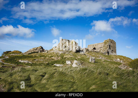 Ruins of The Rock of Dunamase popular historic attraction found overlooking the valley of the O'Moores, outside Portlaoise, County Laois, Ireland - Stock Image