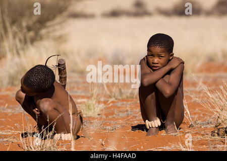 bushman san family in central namibia - Stock Image