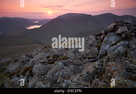 The summit of Robinson in the Lake District at Sunset. High Snockrigg, Loweswater Fell, Low Bank and Whiteless Pike - Stock Image
