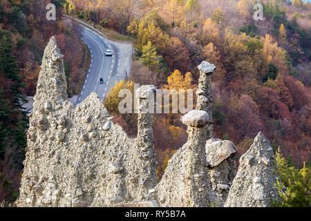 France, Hautes-Alpes, geological site of the Demoiselles Coiff?es of Sauze-du-Lac - Stock Image