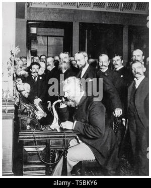 Alexander Graham Bell (1847-1922) at the opening of the long-distance telephone line from New York to Chicago, 1892 - Stock Image