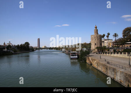 Spain. Andalusia. Seville. Tower of  Gold and Guadalquivir river. - Stock Image