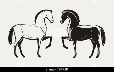 silhouette of standing race horse. vector illustration - Stock Image