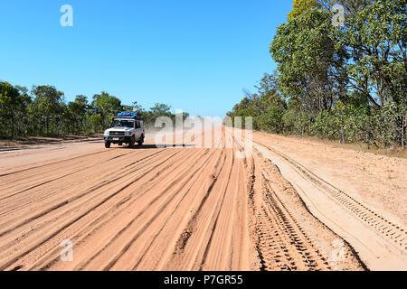 4x4 Toyota driving on the remote Peninsula Development Road (PDR), Cape York Peninsula, Far North Queensland, FNQ, QLD, Australia - Stock Image