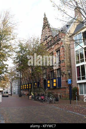 16th century former Chancellery at Turfmarkt street, central Leeuwarden, Friesland, The Netherlands. - Stock Image