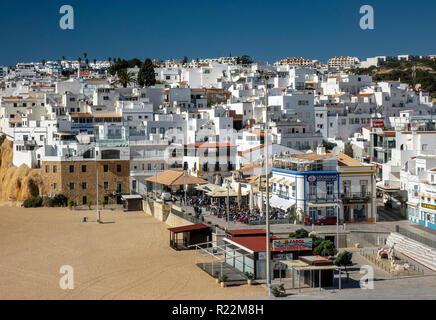 Albufeira Old Town And Fisherman Beach Praia dos Pescadores Aerial View - Stock Image