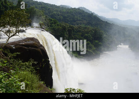 Athirapally Falls in Kerala India during Monsoon Season Largest waterfall in kerala situated in Western Ghats forest range - Stock Image