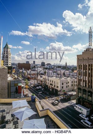Intersection of Hollywood and Highland Boulevards, with downtown Los Angeles visible in distance. - Stock Image