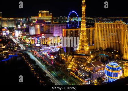 The casinos and hotels of South Las Vegas Boulevard aka the Las Vegas Strip viewed at night - Stock Image