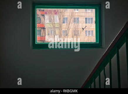 staircase - emergency exit in hotel, close-up staircase, interior staircases, interior staircases hotel, Staircase in modern house, staircase in moder - Stock Image