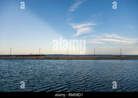 Split sky when day turning to evening. - Stock Image