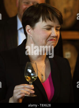 Scottish Conservatives leader Ruth Davidson samples whisky during a visit to Deanston Distillery in Doune, where the party unveiled their European election candidates. - Stock Image