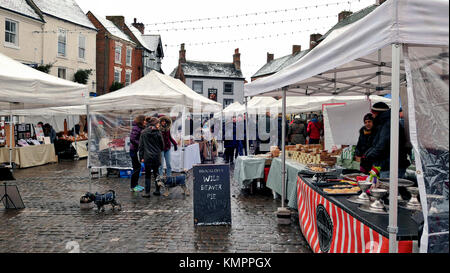 Ashbourne, Derbyshire, UK. 09th Dec, 2017. Christmas: Wild Beaver Pie sign at the Ashbourne Christmas market Derbyshire - Stock Image