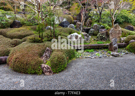 Kozanji Temple lies along the Nakasendo Road in Kiso.  It was originally founded during the Kamakura Period. The temple and its garden have been recon - Stock Image