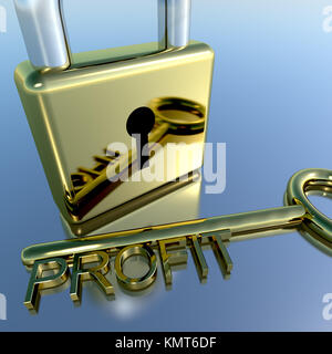 Padlock With Profit Key Showing Growth Earnings And Revenues - Stock Image