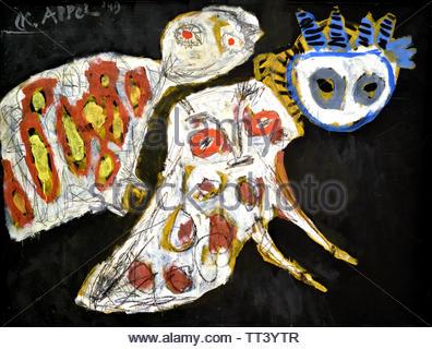 Night Birds by Karel Appel born in 1921 Dutch painter, (sculptor,  poet, Avant-garde movement Cobra), The, Netherlands. - Stock Image