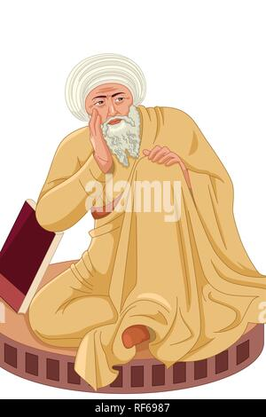 A vector illustration of Averroes Muslim Philosopher - Stock Image
