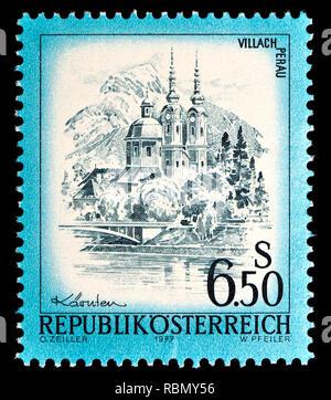 Austrian definitive postage stamp (1977) : Villach Perau - Stock Image