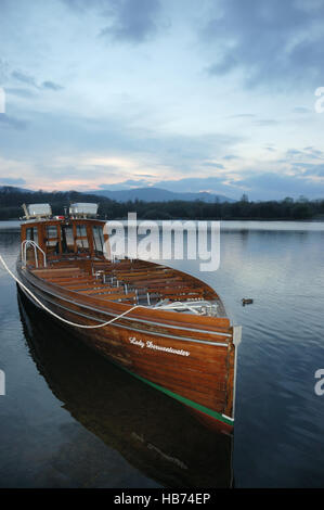 The launch Lady Derwentwater a passenger vessel operating on Derwentwater at Keswick in the English Lake District - Stock Image