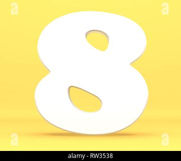 3d rendering illustration. White paper digit alphabet character 8 eight font. Front view number 8 symbol on a yellow background. - Stock Image
