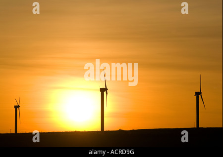 Scenic view of wind turbines in Cornwall during sunset - Stock Image