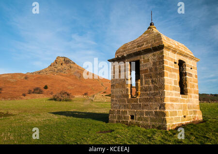 The restored eighteenth century shooting box, now a grade II listed building on the lower slopes of Roseberry Topping, - Stock Image