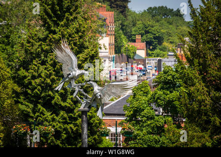 The Malvern Buzzards Metal Sculpture in the Rose Garden at Great Malvern, Worcestershire, England - Stock Image