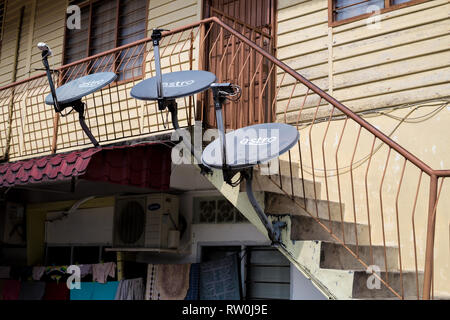 Kampung Baru, TV Satellite Dishes on Typical Middle-class House in Traditional Malay Enclave, Kuala Lumpur, Malaysia. - Stock Image
