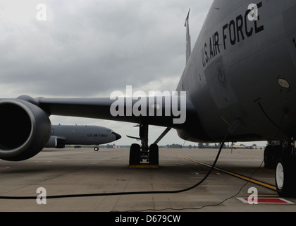A KC-135 Stratotanker taxis after returning from a refueling mission - Stock Image