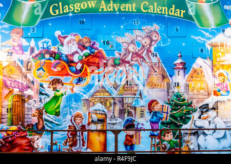 The very large Glasgow Advent Calendar in George Square, Glasgow, Scotland. - Stock Image