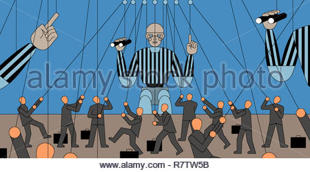 Lots of small businessmen controlling large referee puppets - Stock Image