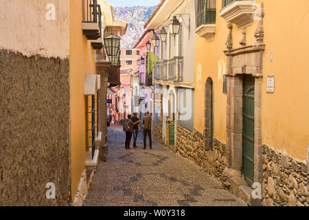 Colorful homes and museums in colonial Calle Jaén, La Paz, Bolivia - Stock Image