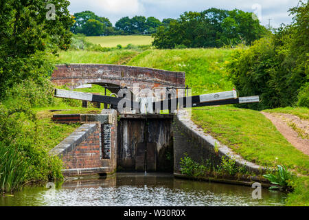 A view of lock 49 by the Tardebigge Resevoir, Worcester and Birmingham Canal, Worcestershire - Stock Image